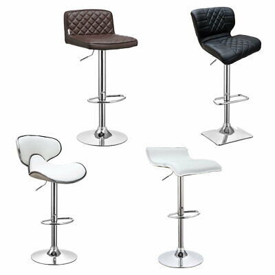 2 x PU Leather Bar Stool Kitchen Chair Adjustable Gas Lift Black Beige Brown Red