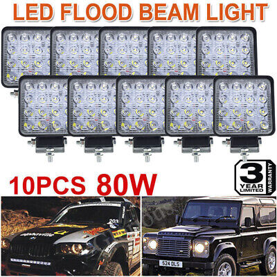 10X 80W 16pcs LED Work Light Offroad Flood Lamp Truck Boat Outdoor 12V 24V AU