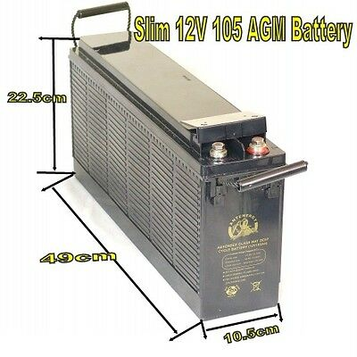 Slim 4Wd 12V 100Ah 105Ah 841Cca Agm Battery Deep Cycle Caravan Solar Marine