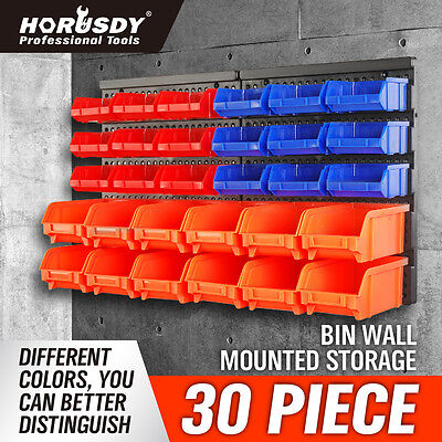 30Pc Workshop Parts Bins Wall Mounted Storage Tool Box Organiser Board Tray Rack
