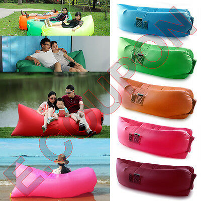 Fast Inflatable Air Sofa Bed Lazy Lounger Bag Couch Sack Mattress Beach Camping