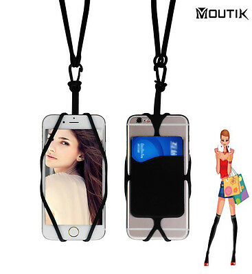 Cell Phone Neck Strap Holder Case with Card Slot Silicon for iPhone Galaxy