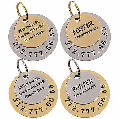 Dog Tag Personalized Custom Pet ID Engraving Puppy Cat Name Brass or Steel