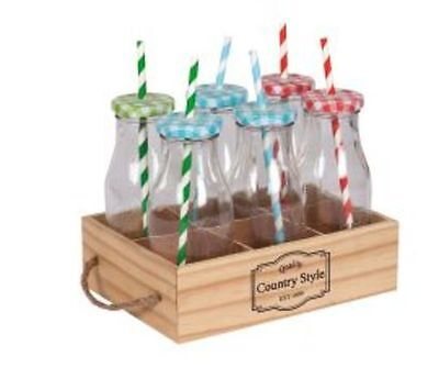 Set of 6 Milk Bottles in a Wooden Tray