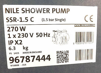 Grundfos Nile Ssr-1.5C Single Impeller 1.5 Bar Shower Pump 96787444 Vat Incl