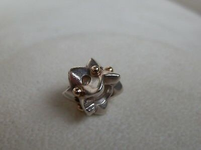 Rare Retired Genuine Pandora 14K & Ss Eyelet Charm-790326