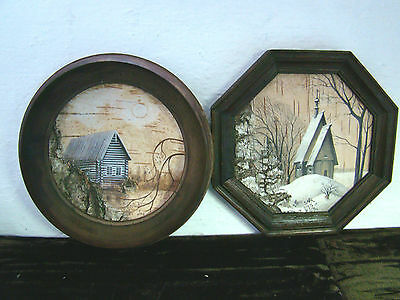 2 x Vintage Russian Folk Art Silver Birch Painting Framed Picture