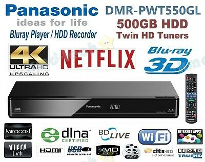 Panasonic 4K Uhd Smart 3D Blu-Ray Player 500Gb Hdd Twin Tuner Wifi Dmr-Pwt550 -B