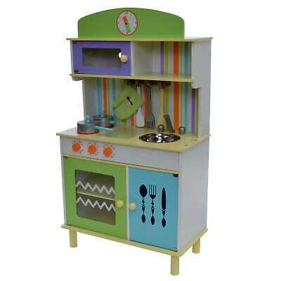LARGE 100CM Kids Childrens Wooden Blue & Green Pretend PLAY KITCHEN Cooking SET