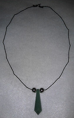 Naruto Green Jade Chakra Crystal Silk Necklace Sterling Silver Balls and Clasp