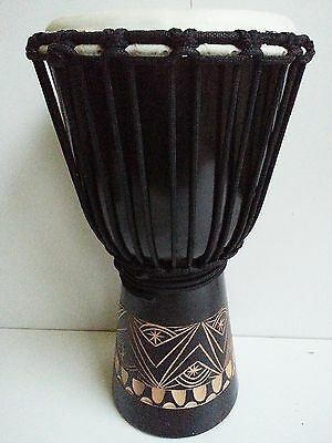 Djembe Drum Bongo Mahogany Wood Tribal Carved Height 40Cm