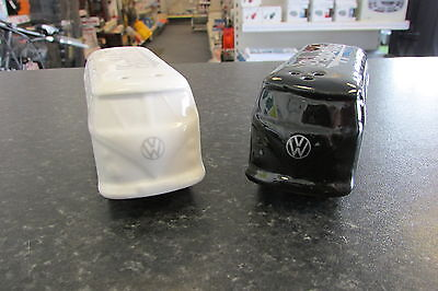 Volkswagen T1 Salt and Pepper Shakers Black and White Genuine VW Collection