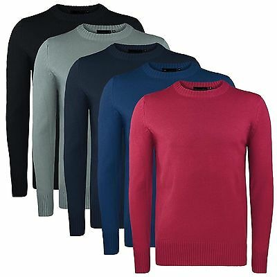 Plain Jumper Men's Crew Neck Sweater NEW