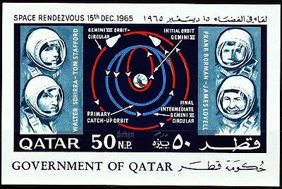 Qatar 1966 ** Bl.15 Weltraum Space , new currency surcharge