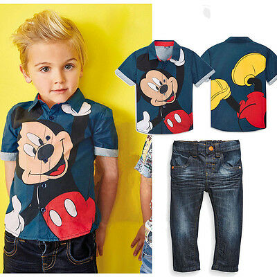 2PCS Toddler Boys Kids Mickey Mouse Outfits Shirt Tops + Jeans Clothes Sets 1-7Y