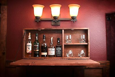 Rustic Wooden Murphy Bar Hidden Liquor Cabinet Wall Mounted