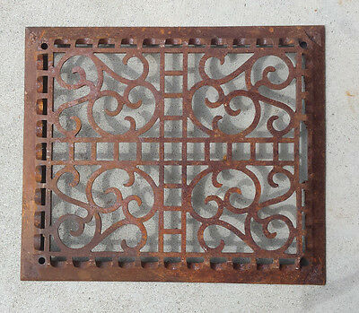 Antique Cast Iron Floor Furnace Grate Decorative Scroll