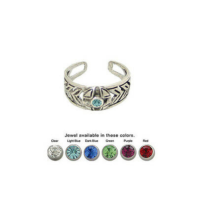 Toe Ring .925 Sterling Silver Adjustable with Jewel by BodyJewelryOnline
