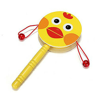 Baby Kid Wooden Musical Hand Bell Shaking Rattle Drum Toy DT