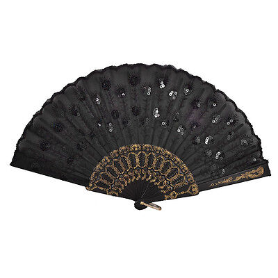 Black Plastic Frame Embroidery Floral Detail Folding Hand Fan DT