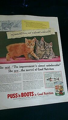 Vintage 1950's Original Magazine Ad pets Cats PUSS N BOOTS Cat Food, 3 Kitties