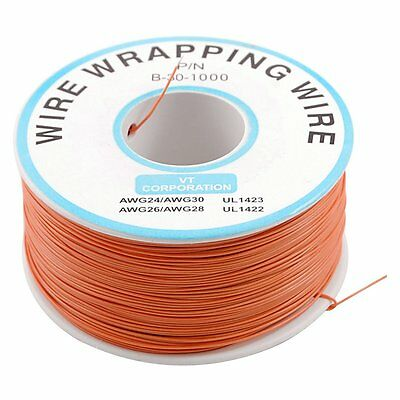 PCB Solder Orange Flexible 0.5mm Outside Dia 30AWG Wire Wrapping Wrap 1000Ft T1