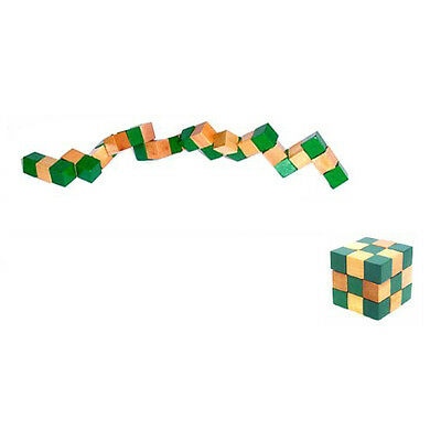 Cube Snake Puzzle Magic 3D Wooden Toy Game Kids Baby Children Twist Gift T1