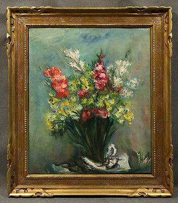 Early 20th Century Oil Painting signed Jacques Zucker, Flowers in a Vase