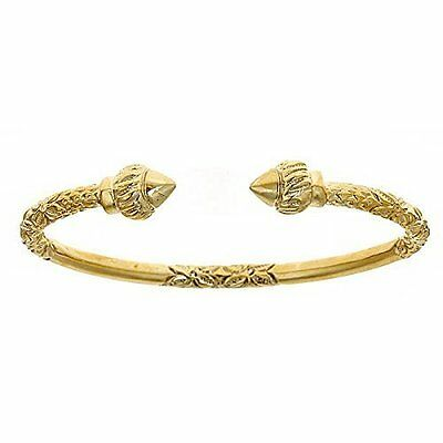 14K Yellow Gold West Indian Bangle w. Torch Ends