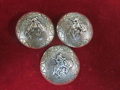 """CONCHOS: 3 Matching Sterling Cast Buckaroo, 1 1/4"""", with Post & Screw"""