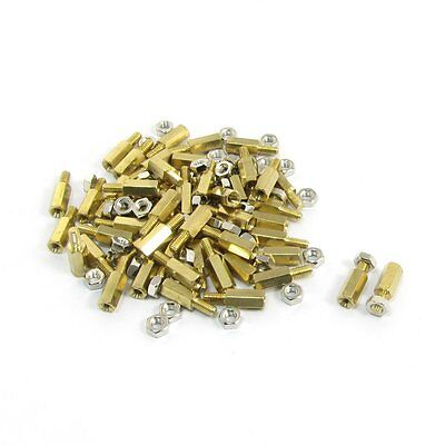10mm Body Long M3x6mm Male Female Brass Pillar Standoff Spacer 50Pcs T1