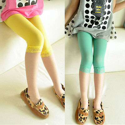 3-12Y Cotton Lace Tight Legging Summer Girl Kids Elastic Capri Pants Candy Color