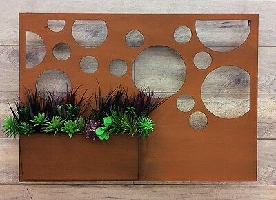 CIRCLES WALL ART With PLANTER Laser Cut Metal Rust Cutout Designer Picture