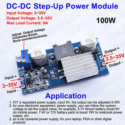 DC-DC 100W 3-35V 6V 9V 12V 18V 24V to 3.5-35V Boost Step-up Module Power Supply