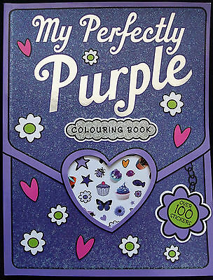 My Perfectly Purple Colouring Book With Over 100 Stickers - Art Craft Kids Fun