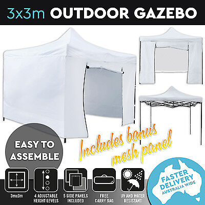 New 3x3 Pop Up Outdoor Gazebo Folding Tent Party Marquee Shade Canopy White