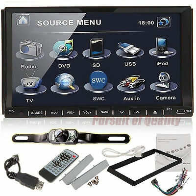 """7""""Double 2 din touchscreen In Stereo dash Radio BT TV IPOD CD MP3 DVD US+CAMERA"""