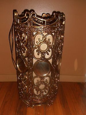 Vintage Gold Ornate Filigree Hanging Lamp Light with Mirrors & Pull Chain