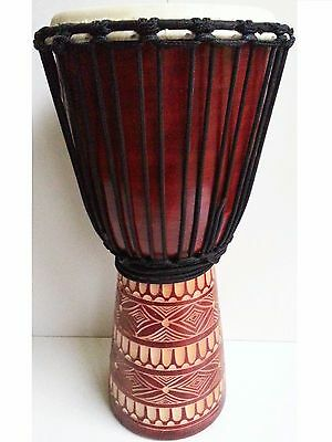 Quality Mahogany Wood Bongo Djembe Drum Tribal Carved Natural 50Cm