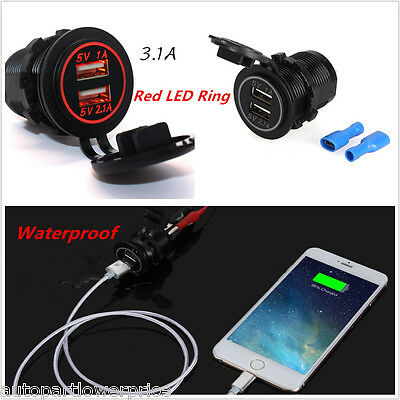 RED 12-24V 3.1A Car Motorcycle Dual USB Charger Adapter Power 2 Ports Red LED