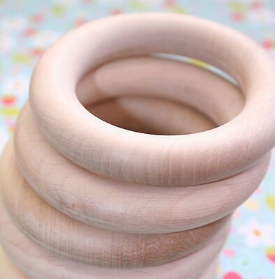 80mm - 5 Organic, natural wooden teething rings, Made in EU to EU standards