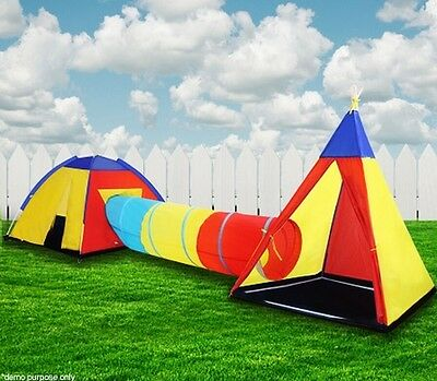 Kids Toddlers Teepee Tunnel Pop Up Play Tent Cubby Playhouse Indoor Outdoor