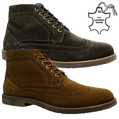 New Mens Real Leather Suede Ankle Chukka Desert Chelsea Brogues Boots Shoes Size