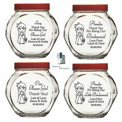 Personalised Engraved Sweets Wedding Favour Jar Flower Girl Bridesmaid Gifts