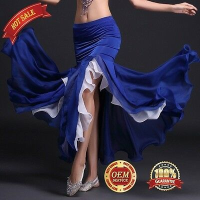 Girl New Sexy Belly Dance Costume Skirt 2-layers Chiffon Skirt With Slit KID