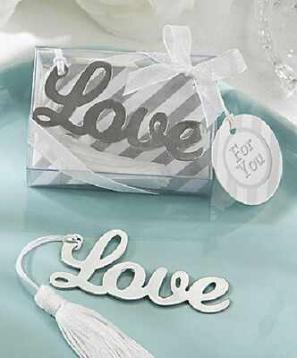 1 x LOVE Book Marker Favour - NEW - Silver metal design - Bookmark