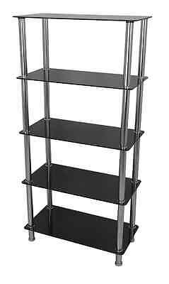 Glass Shelving Unit Display Cabinet 5 Tier Black Glass