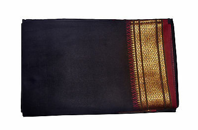 Black Dhoti With Shawl In Pure Silk Golden Border Top Quality