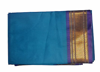 Blue Dhoti With Shawl In Pure Silk Golden Border Top Quality#26