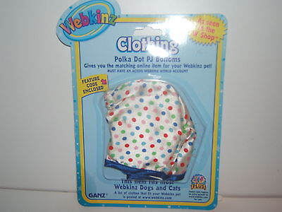 Webkinz Clothing Polka Dot PJ Bottoms New With Feature Code Enclosed